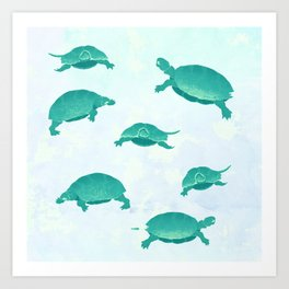 Song of the turtle- save our seas Art Print