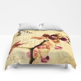 Orchid Flower Butterfly Modern French Country Cottage Art A183 Comforters