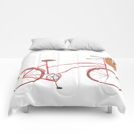 Bicycle With Flower Basket Comforters