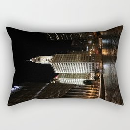 Wrigley Building and Chicago River at Night Color Photo Rectangular Pillow