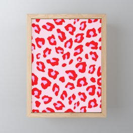 Leopard Print - Red And Pink Framed Mini Art Print