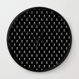 BLACK & WHITE SKULLS ALL OVER PRINT LARGE Wall Clock