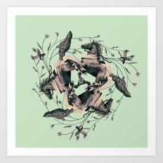 Horses and birds Art Print