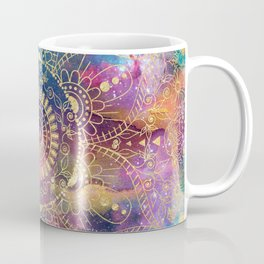 Gold watercolor and nebula mandala Coffee Mug