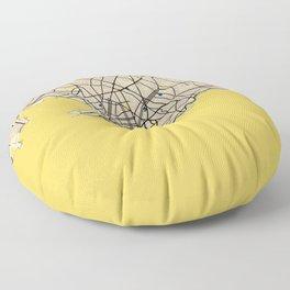 Montevideo Yellow City Map Floor Pillow