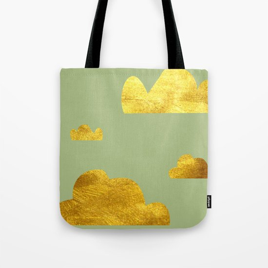 Gold Clouds green Tote Bag