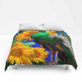 GREEN PEACOCK & GOLDEN SUNFLOWERS  GREEN MODERN ART Comforters