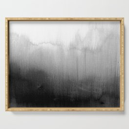 Modern Black and White Watercolor Gradient Serving Tray
