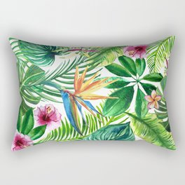 background of tropical leaves and palm flowers watercolor illustration Rectangular Pillow