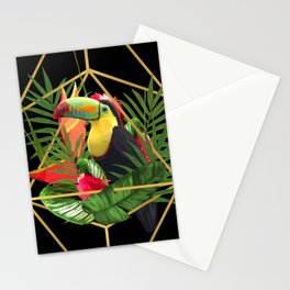 Bold Golden Geometric Tropical Bouquet With Toucan Stationery Cards