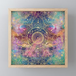 Gold watercolor and nebula mandala Framed Mini Art Print