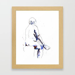 Female Figure – Ink and Watercolor Sketch Framed Art Print