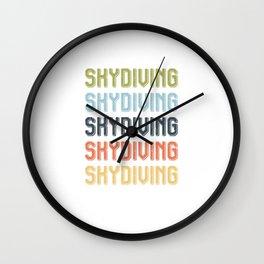 Vintage Retro Skydiving Typography Skydiver  Wall Clock