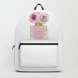 Pink & Gold Floral Fashion Perfume Bottle Backpack