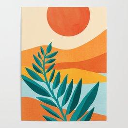 Mountain Sunset / Abstract Landscape Illustration Poster