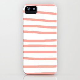 Simply Drawn Stripes Salmon Pink on White iPhone Case
