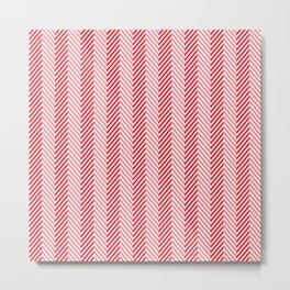 Carmine Red and White Herringbone Chevron Pattern Metal Print