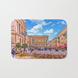 People in Nice Plaza with Fountain Bath Mat