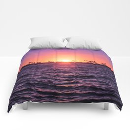 Mission Bay Palm Tree Sunset in San Diego, California Comforters