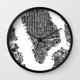 New York city map black and white Wall Clock