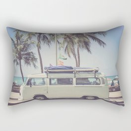 bus, van, beach, hippie, tropical, summer, travel, explore, adventure, wanderlust, travel van, boho Rectangular Pillow