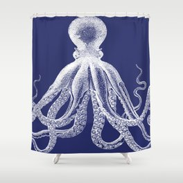 Octopus | Navy Blue and White Shower Curtain