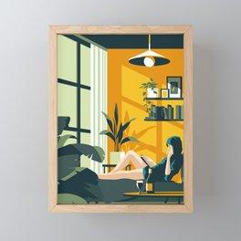 The Blue Hat Girl / Stay Home Framed Mini Art Print