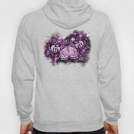 butterfly beautiful strong free splatter watercolor purple pink sepia Hoody