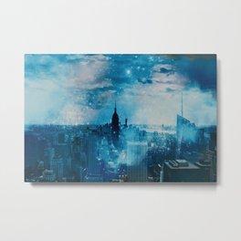 New York City Blue Night Moon Mixed Media Art Metal Print