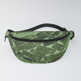 GANGSTA jungle camo / Green camouflage pattern with GANGSTA slogan Fanny Pack