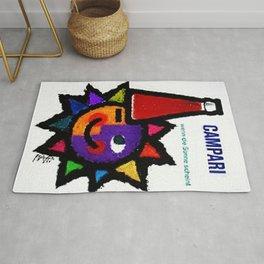 "Ultra Rare Vintage ""Colored Sun"" Bitter Campari Advertisement Poster Rug"