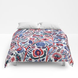 Botanical in red and blue Comforters
