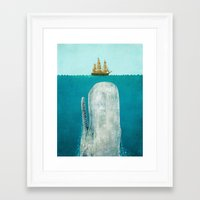 black Framed Art Prints featuring The Whale  by Terry Fan