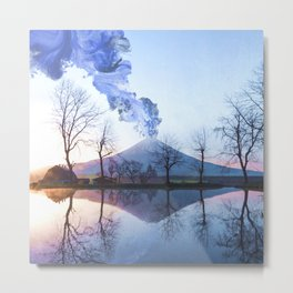 Mount Fuji Eruption-Mt. Fuji Japan-Abstract Japanese Nature Collage Metal Print