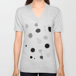 Black and gray blots on white background Unisex V-Neck