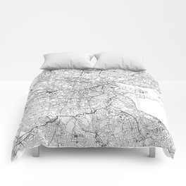 Dublin White Map Comforters