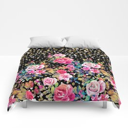 Modern watercolor spring floral and gold dots pattern Comforters