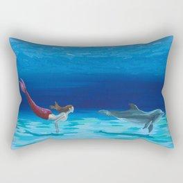 Mermaid and Dolphin - No. 1 Rectangular Pillow