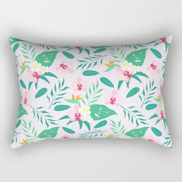 Blush pink  green tropical flower of paradise orchid floral Rectangular Pillow