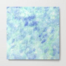 Blue lagoon watercolor Metal Print