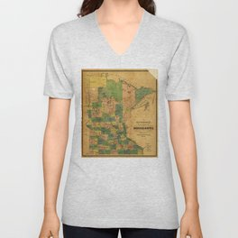 Township and Railroad Map of Minnesota (1874) Unisex V-Neck