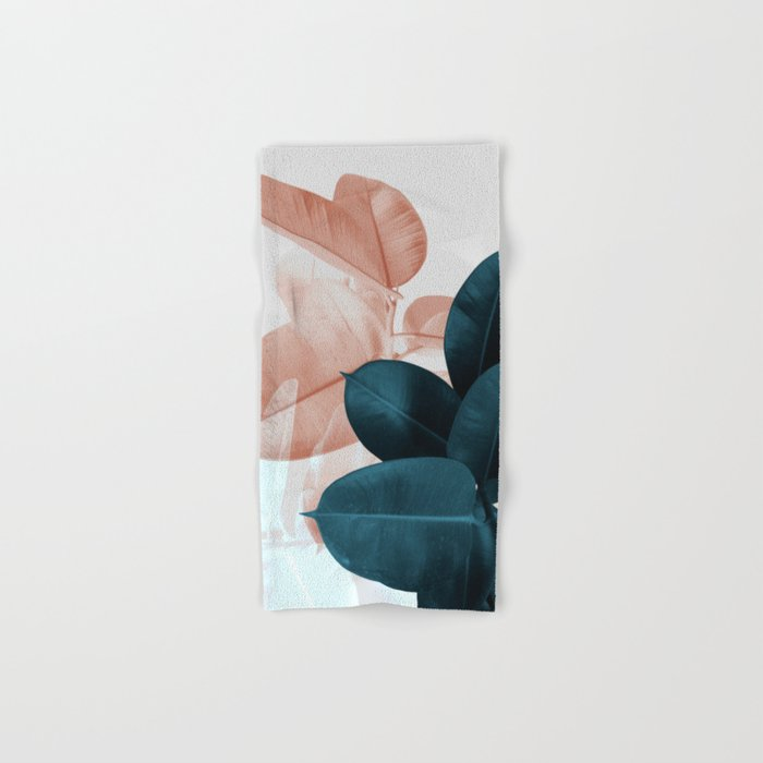 Blush & Blue Leaves Hand & Bath Towel