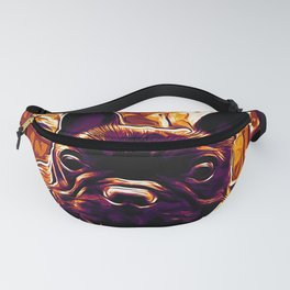 french bulldog basketball vector art late sunset Fanny Pack