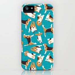 beagle scatter blue iPhone Case