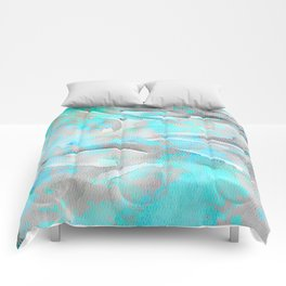 Abstract modern aqua gray watercolor brushstrokes pattern Comforters