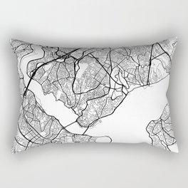 Istanbul Map, Turkey - Black and White Rectangular Pillow