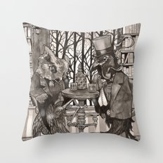 The Owl & The Raven Throw Pillow