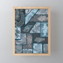 Vintage Hawaiian Tribal Fish Collage Framed Mini Art Print