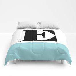 Monogram Letter E-Pantone-Limpet Shell Comforters