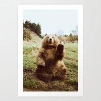Art Prints featuring Hi Bear by beccatapert